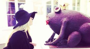 Yes that is a giant frog made entirely out of chocolate // Belgium